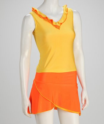 Orange & Yellow Ruffle Reversible Tennis Tank - Women
