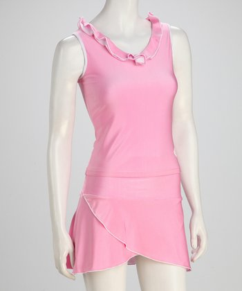 White & Pink Reversible Tennis Tank - Women