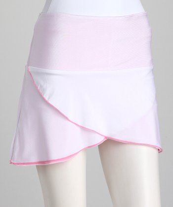 White & Pink Reversible Tennis Skirt & Shorts - Girls
