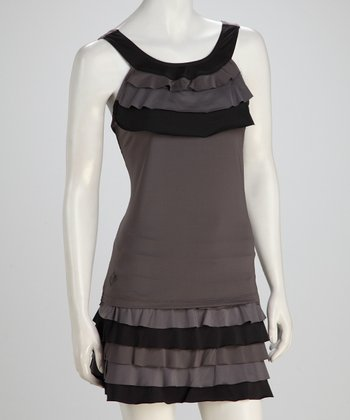 Black & Gray Ruffle Tennis Top - Women