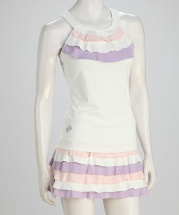 White & Pink Ruffle Tennis Tank - Women