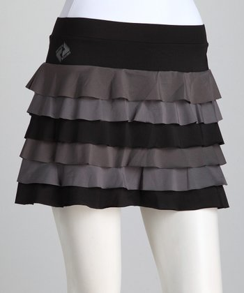 Black & Gray Ruffle Tennis Skort - Women