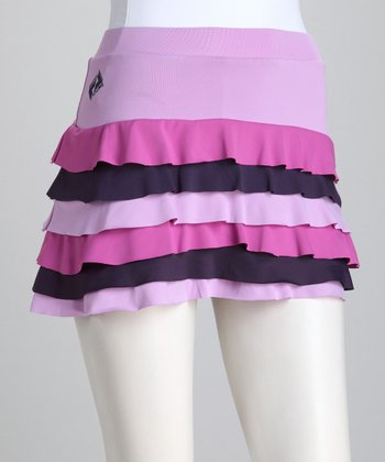 Purple & Pink Ruffle Tennis Skort - Women
