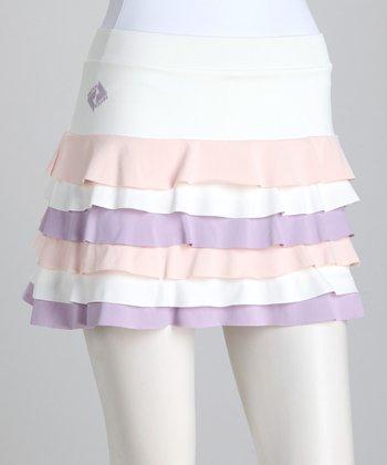White & Pink Ruffle Tennis Skort - Women