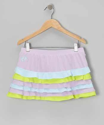 Purple & Green Ruffle Tennis Skort - Girls
