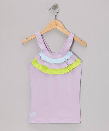 Purple & Green Ruffle Tennis Tank - Girls