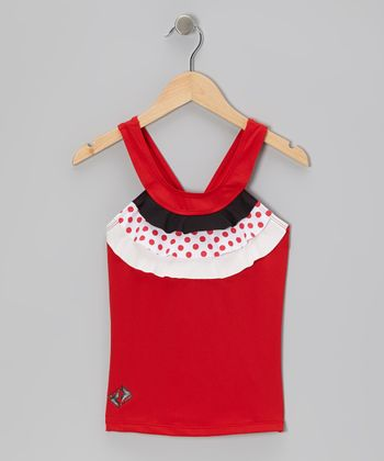 Red & White Ruffle Tennis Tank - Girls