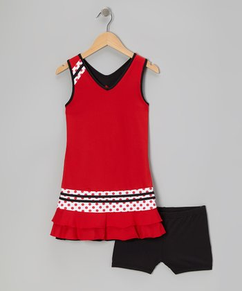 Red & Black Reversible Tennis Dress & Shorts - Girls