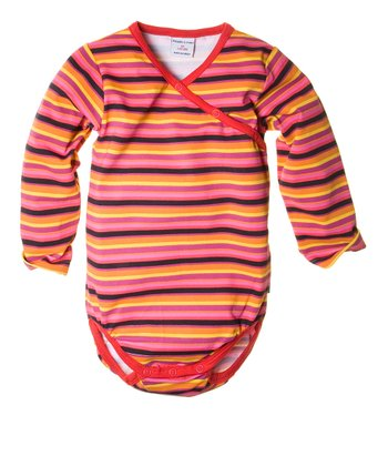 Pink & Yellow Stripe Wrap Bodysuit - Infant