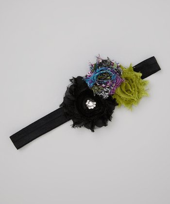 Black & Green Shabby-Chic Stretch Headband