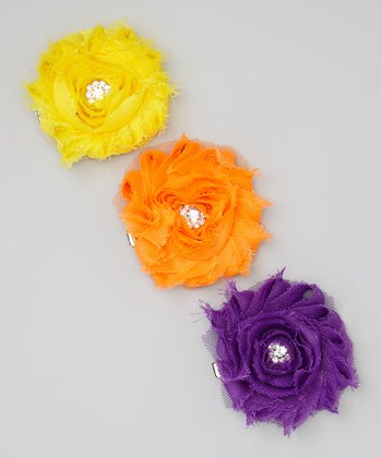 Yellow, Orange & Purple Shabby-Chic Flower Clip Set