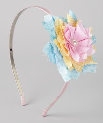 Pink & Blue Pinwheel Flower Headband