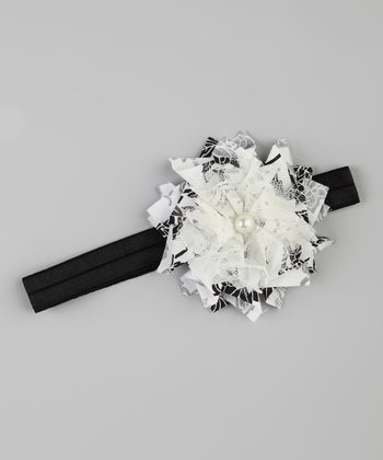 Black & White Flower Stretch Headband