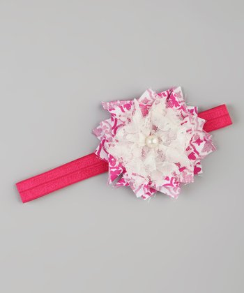 Hot Pink & White Flower Stretch Headband