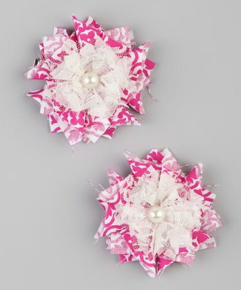 Hot Pink & White Flower Clip - Set of Two