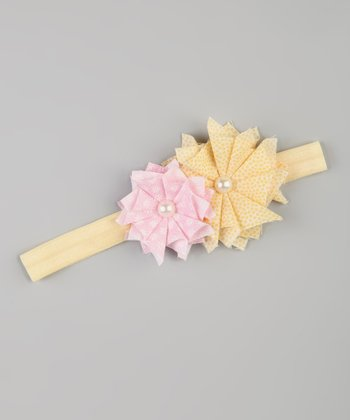 Yellow & Pink Flower Stretch Headband