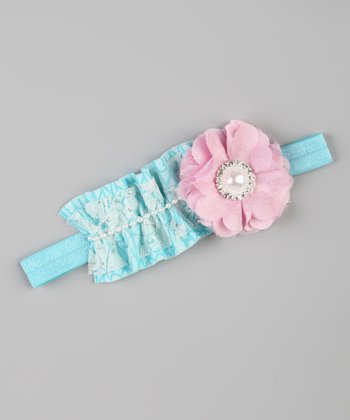 Teal & Light Pink Stretch Headband