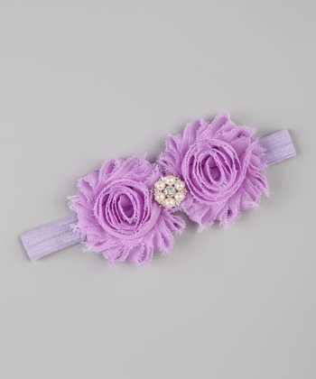 Lavender Flower Shabby-Chic Stretch Headband