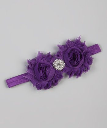 Purple Flower Shabby Chic Stretch Headband