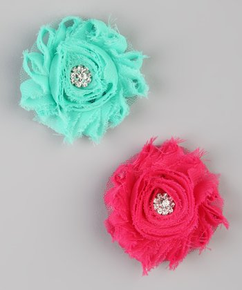 Aqua & Hot Pink Shabby Clip Set