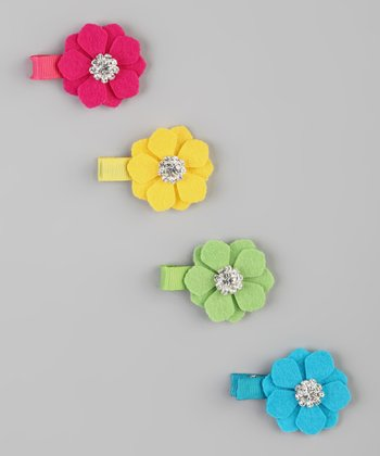 Hot Pink & Turquoise Flower Felt Clip Set