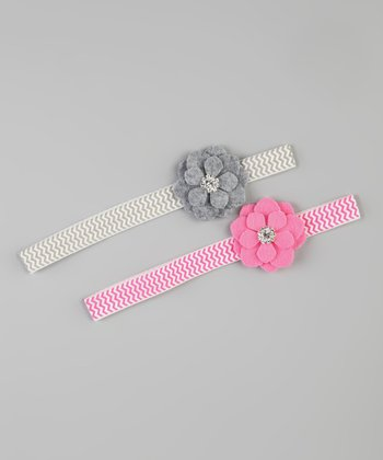 Gray & Pink Felt Flower Headband Set