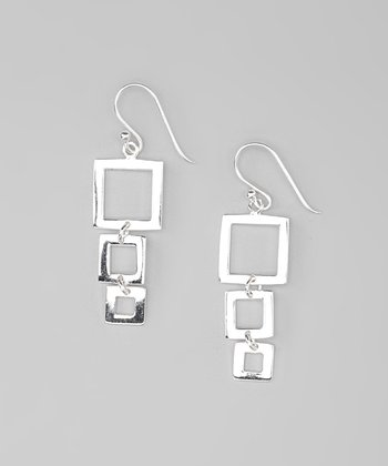 Sterling Silver Square-Link Drop Earrings