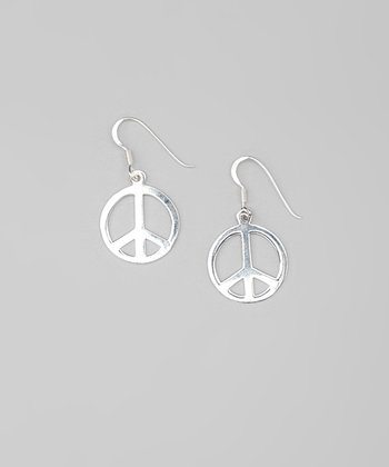 Sterling Silver Peace Sign Drop Earrings
