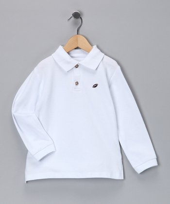 White Football Polo - Toddler & Boys