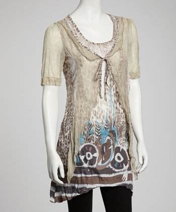 Turquoise & Taupe Abstract Layered Tunic