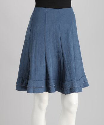 French Blue Pleated Skirt