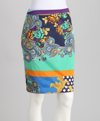 Blue Paisley Polka Dot Skirt