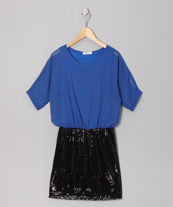 Royal Blue Sequin Dolman Dress - Girls