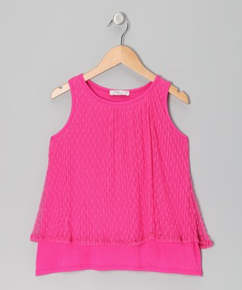 Pink Lace Tank - Girls