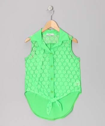 Neon Green Lace Knotted Sleeveless Button-Up - Girls