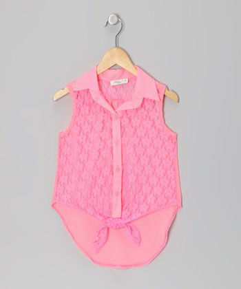 Pink Lace Knotted Sleeveless Button-Up - Girls