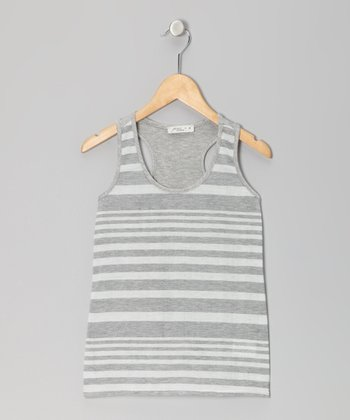 Gray Stripe Tank - Girls