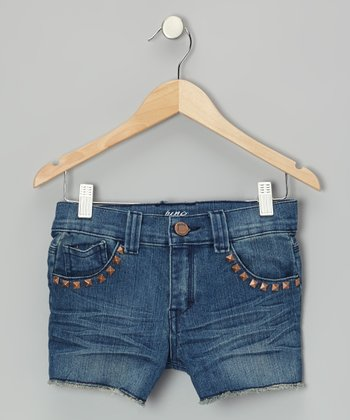 Medium Wash Denim Studded Shorts - Girls