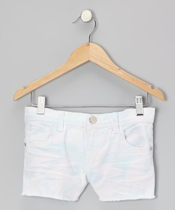 White & Blue Tie Dye Denim Shorts - Toddler & Girls