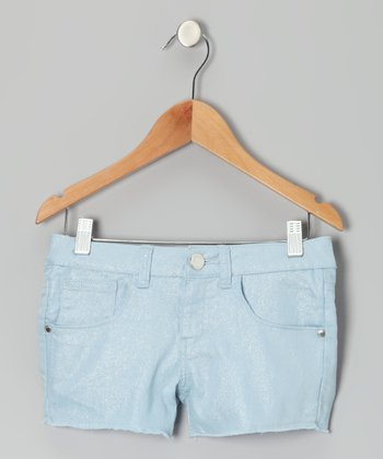 Sky Glitter Denim Shorts - Toddler & Girls