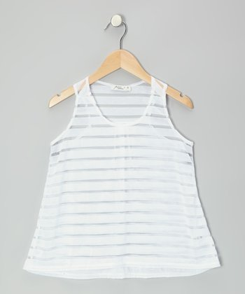 White Sheer Stripe Tank - Girls