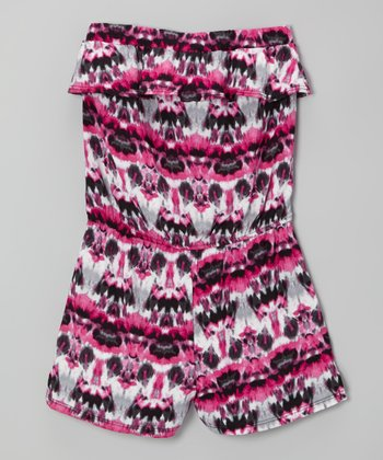 Fuchsia Ink Blot Romper - Girls