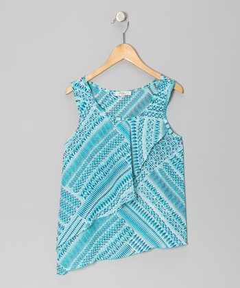 Teal Abstract Ruffle Tank - Girls
