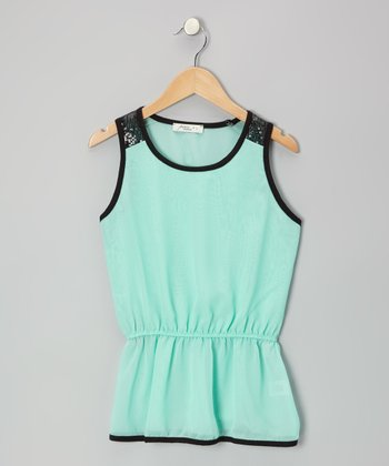 Mint Sequined Tank - Girls