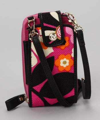Wild Raspberry & Black Sirena Crossbody Cell Phone Wallet