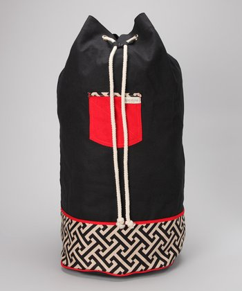 Black & Red Abstract Callahan Oversize Bucket Bag