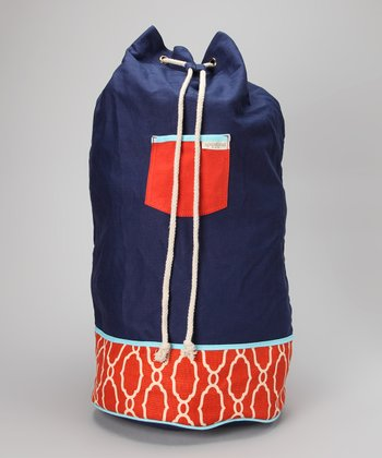 Orange & Navy Blue Sallie Ann Oversize Bucket Bag
