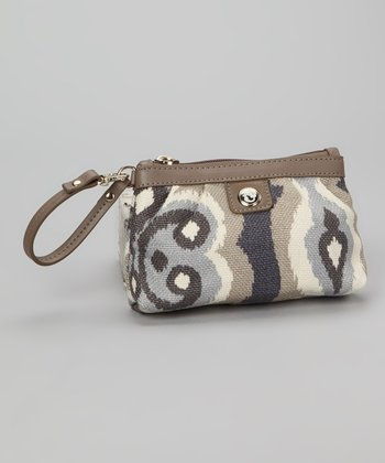 Gray & Cream Miss Billie Pleated Wristlet