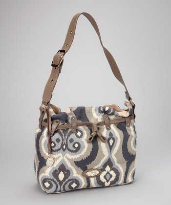 Gray & Cream Miss Billie Belted Shoulder Bag