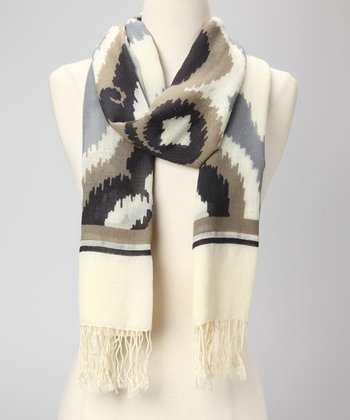 Gray & Cream Miss Billie Artisan Wool Scarf